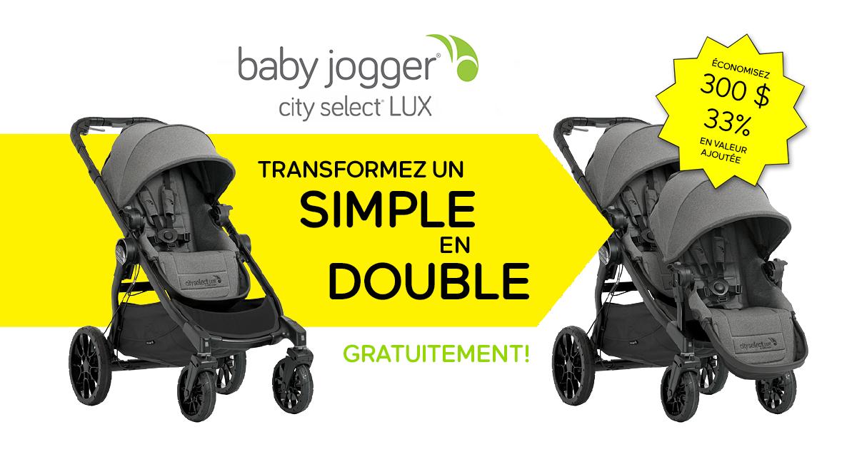 Achetez la poussette Baby Jogger City Select LUX simple et nous vous offrons le deuxième siège gratuitement!